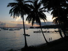 Sunset on the Marina of the peaceful small Town of Samana...